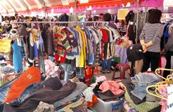 Outdoor Market for Used Clothing royalty free stock image