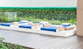 Outdoor massage bed. In a spa salon Stock Image