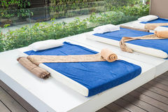 Outdoor massage bed. In a spa salon Royalty Free Stock Images
