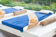 Outdoor massage bed. In a spa salon Royalty Free Stock Photos
