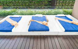 Outdoor massage bed. In a spa salon Royalty Free Stock Image