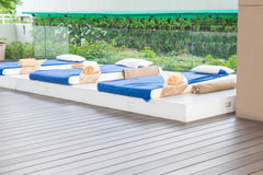 Outdoor massage bed. In a spa salon Stock Photography