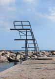 Outdoor metal diving tower in two decks Stock Photography