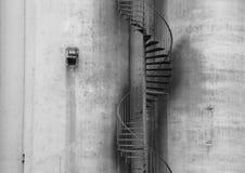 Outdoor Metal Staircase on Concrete Grey Wall Stock Photos