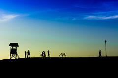 Outdoor mountain bike - cyclists silhouettes on the background.(I) Stock Photography