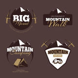 Outdoor mountain camping, alpinism vector emblems, labels, badges, logos set  Royalty Free Stock Photography