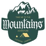 Outdoor Mountain expedition typography. Adventure logo. Outdoor Mountain expedition typography, poster with mountains, tourist tent, bonfire and pine trees Royalty Free Stock Image