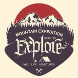 Outdoor Mountain expedition typography. Adventure logo. Outdoor Mountain expedition typography, poster with mountains, tourist tent, bonfire and pine trees Stock Photography