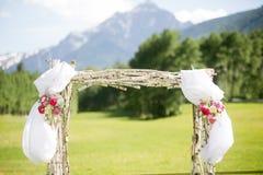 Outdoor Mountain wedding Ceremony Alter Stock Photos