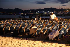 Outdoor movie projection during Cannes film festival 2013 Royalty Free Stock Image