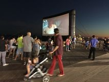 Outdoor Movie Screen on Coney Island Boardwalk Royalty Free Stock Photography