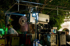 Outdoor movie theater at a temple in Thailand Stock Photography