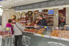 Outdoor Mozart traditional sweets street market stall. royalty free stock photography