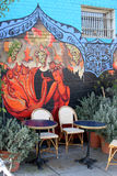 Outdoor mural and patio Stock Photo