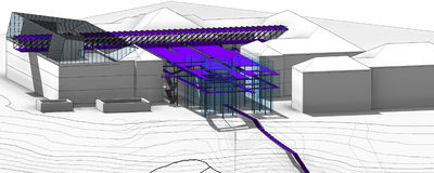Outdoor of museum in national academy of fine art and architecture (concept project). Was created in Revit Autodesk. roof Royalty Free Stock Images