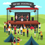 Outdoor Music Festival Composition. Open air festival background with summer suburban landscape rock band on stage crowd and camping park vector illustration Royalty Free Stock Photos