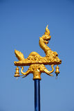 Outdoor naka gold lamp with blue sky Royalty Free Stock Images