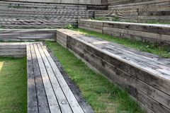 Outdoor Natural Grandstand. The Outdoor Natural Grandstand made from wood with natural grasses Stock Image