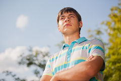 Outdoor natural portrait of a young man Royalty Free Stock Photo