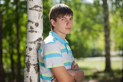 Outdoor natural portrait of a young man Stock Photography