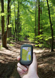 Outdoor Navigation in the wood Stock Photo