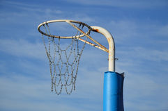 Outdoor Netball Ring. A weathered netball ring and chain netting. Photo taken July 2014 Royalty Free Stock Image