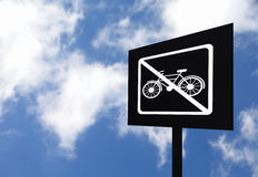 Outdoor no bicycle parking sign Royalty Free Stock Images