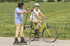 Outdoor Nordic inline skating and cycling Stock Image