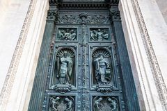 Outdoor northern doors of Saint Isaac's Cathedral. (Isaakievskiy Sobor) in Saint Petersburg city Royalty Free Stock Image