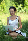 Outdoor with notebook Royalty Free Stock Images