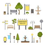 Outdoor Object Set. Outdoor and city landscape design object set isolated vector illustration Stock Image