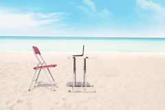 Outdoor office at beach Royalty Free Stock Image