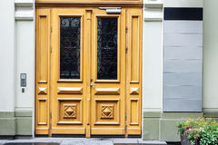 Outdoor office doors with empty signboards Stock Image