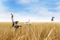 Outdoor office with success businessman dancing Stock Image