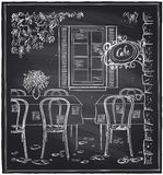 Outdoor old cafe chalk sketch. Royalty Free Stock Image