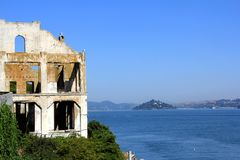 Outdoor of old prison building in Alcatraz, San Francisco CA.  royalty free stock images