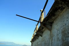 Outdoor of old prison building in Alcatraz, San Francisco CA.  royalty free stock photography