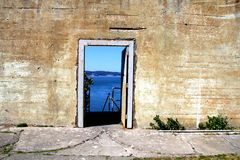 Outdoor of old prison building in Alcatraz, San Francisco CA.  royalty free stock photos