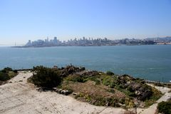 Outdoor of old prison building in Alcatraz, San Francisco CA.  stock photography
