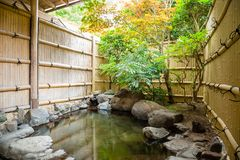 Outdoor onsen, japanese hot spring Royalty Free Stock Photo