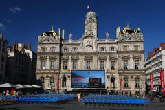 Outdoor Opera show and City Hall. The Opera Show takes place outdoors on the main place in front of City Hall, on July, 7, 2012 in Lyon, France Royalty Free Stock Images