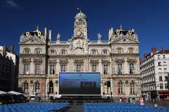 Outdoor Opera show in Lyon. The Opera Show takes place outdoors on the main place in front of City Hall, on July, 7, 2012 in Lyon, France Royalty Free Stock Image