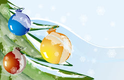 Outdoor Ornaments. Illustration of holiday ornaments outside Stock Images