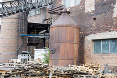 Outdoor of paper mill - Poland. Exterior of old paper mill in Poland royalty free stock photography