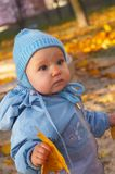 Outdoor park. Portrait of little baby in park Stock Photos