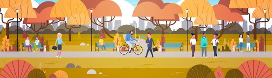 Outdoor Park Activities, People Relaxing In Nature Walking Riding Bicycle And Communicating Horizontal Banner. Flat Vector Illustration Royalty Free Stock Photos