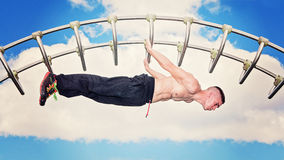 Outdoor park bar fitness workout Stock Image