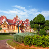 Outdoor park with Buddhist Society Hall. Vientiane, Laos, Royalty Free Stock Photos