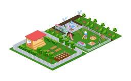 Outdoor park, children`s playground in kindergarten, appearance of stage. Outdoor park, children`s playground in kindergarten. Recreation park with benches vector illustration