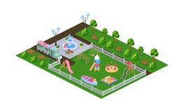 Outdoor park, children`s playground in kindergarten, in open air. Recreation park with benches, landscape with plantings, fountain and children`s gaming royalty free illustration